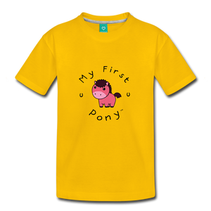 Toddler My First Pony T-Shirt (pink patch) - sun yellow