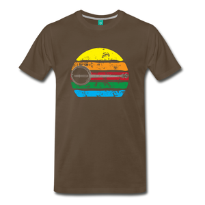 Men's Faded Banjo Rainbow T-Shirt - noble brown