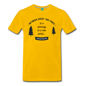 Men's Between Every Two Pines T-Shirt - sun yellow