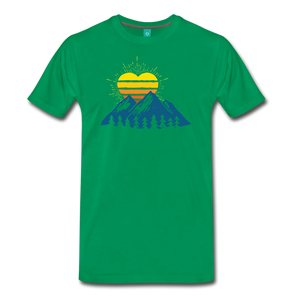 Men's Mountains Sun Heart T-Shirt - kelly green