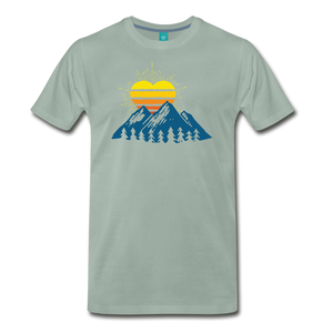 Men's Mountains Sun Heart T-Shirt - steel green