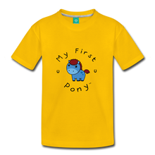 Load image into Gallery viewer, Kids' My First Pony T-Shirt (blue) - sun yellow