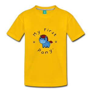 Kids' My First Pony T-Shirt (blue) - sun yellow