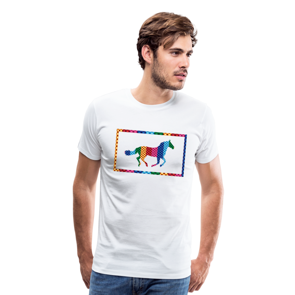 Men's Rainbow Plaid Horse T-Shirt - white