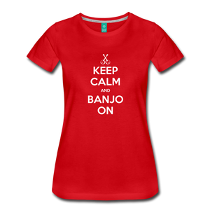 Women's Keep Calm Banjo On T-Shirt - red