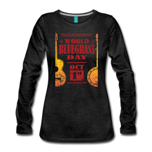 Load image into Gallery viewer, Women's Faded World Bluegrass Day Long Sleeve T-Shirt - charcoal gray