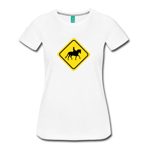Women's Caution Dressage Horse T-Shirt - white
