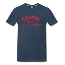Load image into Gallery viewer, Men's Travel More Stay Longer T-Shirt - navy