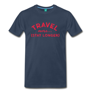Men's Travel More Stay Longer T-Shirt - navy