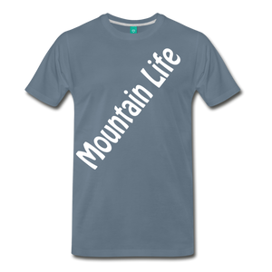Men's Diagonal Mountain Life T-Shirt - steel blue