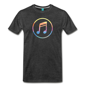 Men's Colored Music Note T-Shirt - charcoal gray