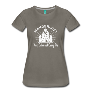 Women's Keep Calm, Camp On (white) - asphalt