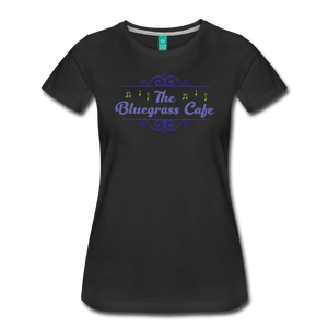Women's The Bluegrass Cafe (swirl) T-Shirt - black
