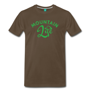 Men's Mountain Life (script) T-Shirt - noble brown