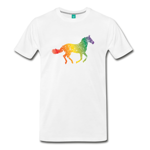 Men's Rainbow Distressed Horse T-Shirt - white