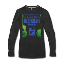 Load image into Gallery viewer, Men's Faded Blue/Green World Bluegrass Day Long Sleeve Shirt - black