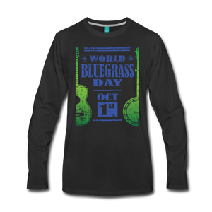 Men's Faded Blue/Green World Bluegrass Day Long Sleeve Shirt - black