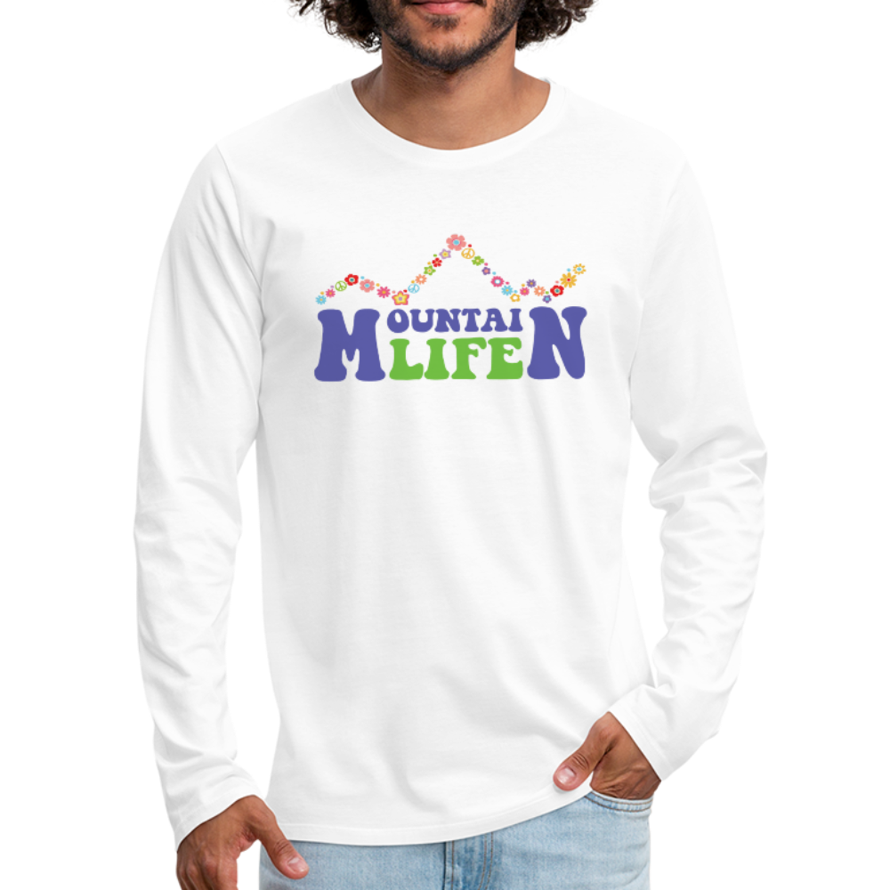 Men's 60s Mountain Life Long Sleeve Shirt - white