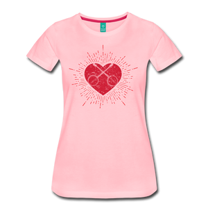Women's Sunburst Heart Banjo T-Shirt - pink