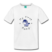 Load image into Gallery viewer, Toddler My First Pony T-Shirt (blue patch) - white