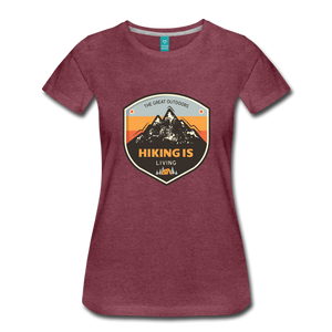Women's Hiking T-Shirt - heather burgundy