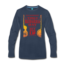 Load image into Gallery viewer, Men's Faded World Bluegrass Day Long Sleeve T-Shirt - navy
