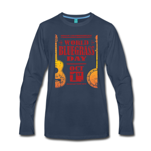 Men's Faded World Bluegrass Day Long Sleeve T-Shirt - navy