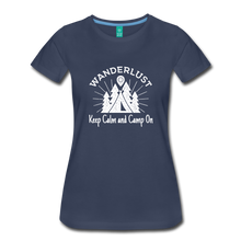 Load image into Gallery viewer, Women's Keep Calm, Camp On (white) - navy