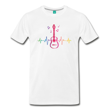Load image into Gallery viewer, Men's Guitar Heartbeat T-Shirt - white