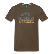 Load image into Gallery viewer, Men's Bluegrass Mountains Speak T-Shirt - noble brown