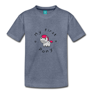 Toddler My First Pony T-Shirt (light grey) - heather blue