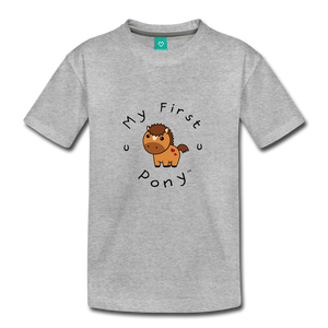 Toddler My First Pony T-Shirt (light brown) - heather gray