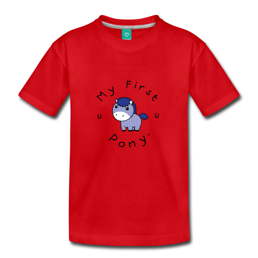 Toddler My First Pony T-Shirt (blue patch) - red