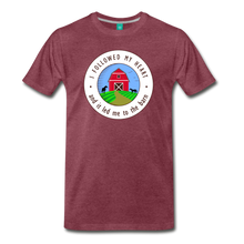 Load image into Gallery viewer, Men's Followed my Heart (colored) T-Shirt - heather burgundy