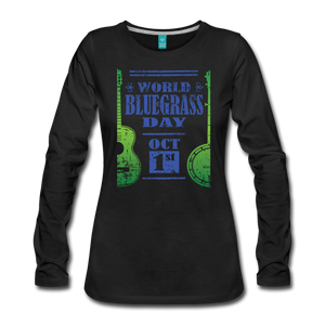 Women's Faded Blue/Green World Bluegrass Day Long Sleeve Shirt - black