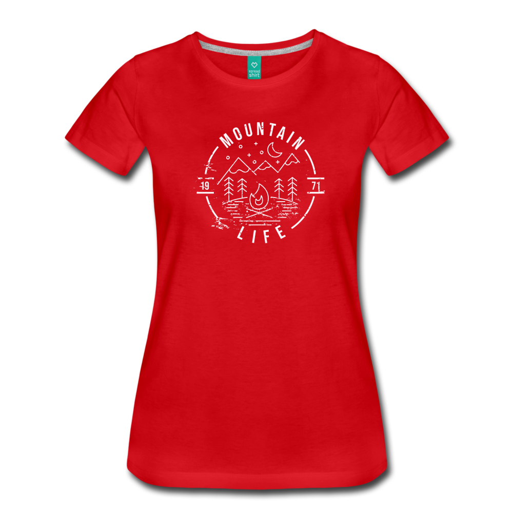 Women's Distressed Mountain Life T-Shirt - red
