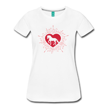 Load image into Gallery viewer, Women's Sunburst Heart Horse T-Shirt - white