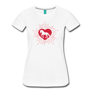 Women's Sunburst Heart Horse T-Shirt - white