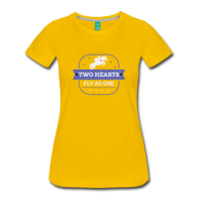 Load image into Gallery viewer, Women's Two Hearts Fly as One T-Shirt - sun yellow