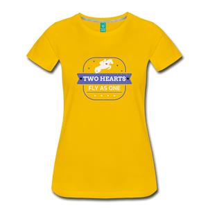 Women's Two Hearts Fly as One T-Shirt - sun yellow