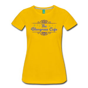 Women's The Bluegrass Cafe (swirl) T-Shirt - sun yellow