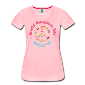 Women's Flower Retro World Bluegrass Day T-Shirt - pink