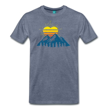 Load image into Gallery viewer, Men's Mountains Sun Heart T-Shirt - heather blue
