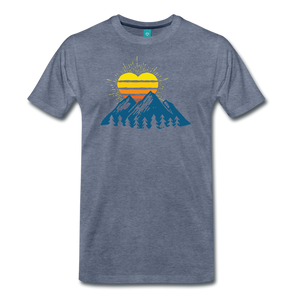 Men's Mountains Sun Heart T-Shirt - heather blue