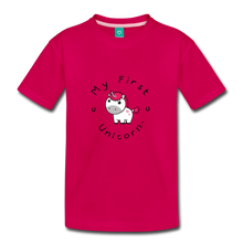 Load image into Gallery viewer, Toddler My First Unicorn T-Shirt (white) - dark pink