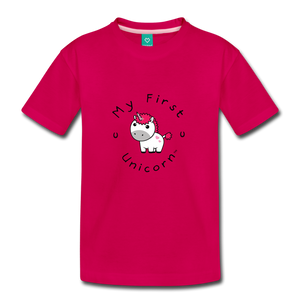 Toddler My First Unicorn T-Shirt (white) - dark pink