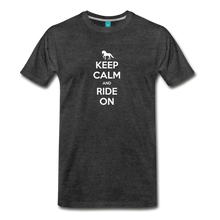 Load image into Gallery viewer, Men's Keep Calm and Ride On T-Shirt - charcoal gray