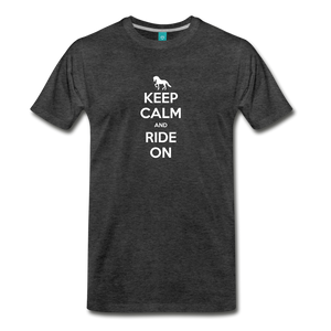 Men's Keep Calm and Ride On T-Shirt - charcoal gray