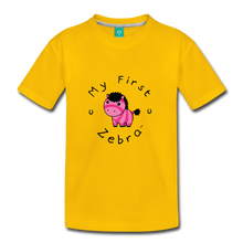 Load image into Gallery viewer, Kids' My First Zebra T-Shirt (pink) - sun yellow