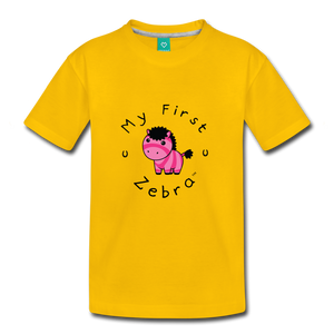 Kids' My First Zebra T-Shirt (pink) - sun yellow